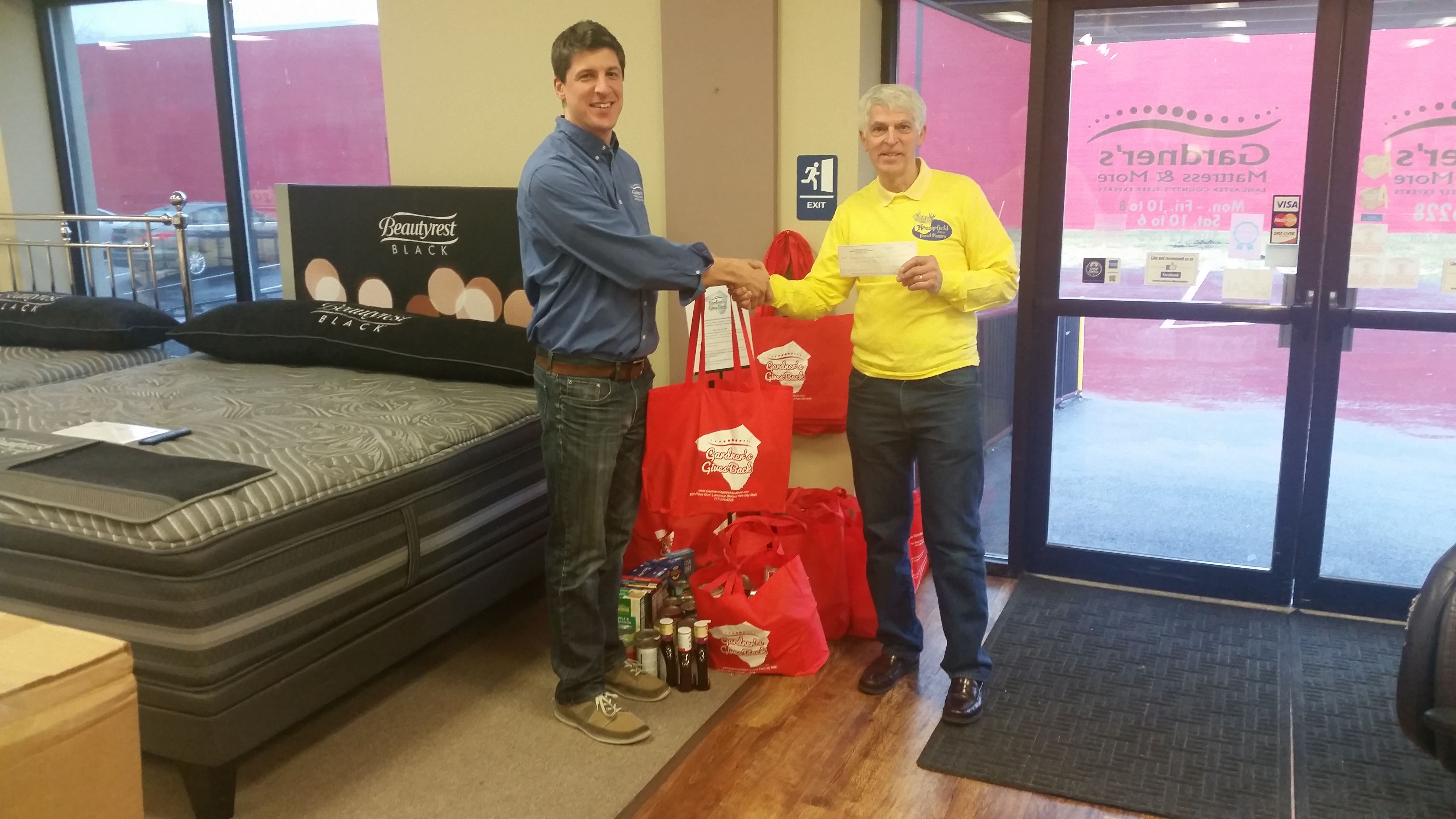 Gardner's Mattress & More Gives Back - January 2017 Donation - Food Pantry