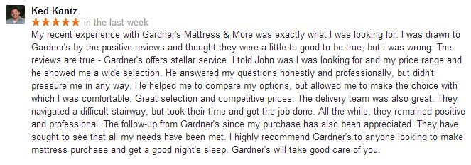 Mattress review - Gardner's Mattress & More - Lancaster, PA