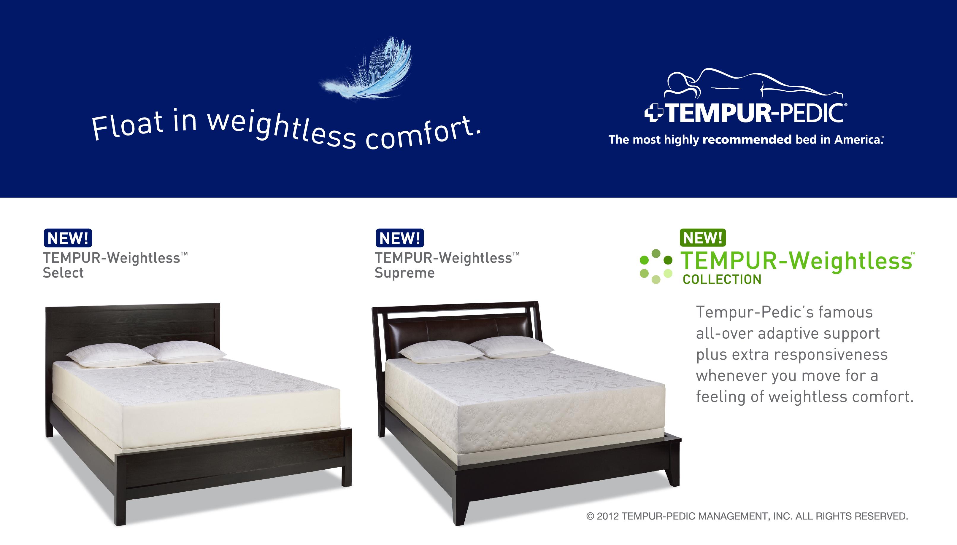 Tempur Weightless Collection Gardners Mattress Amp More