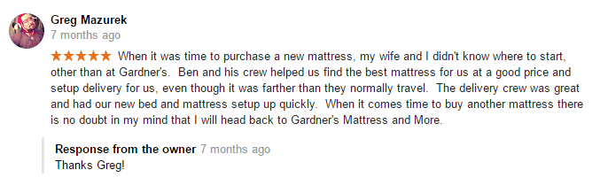 5 star mattress review Gardner's Mattress & More Lancaster, PA